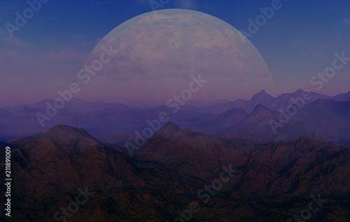 Staande foto Zwart 3d rendered Space Art: Alien Planet - A Fantasy Landscape