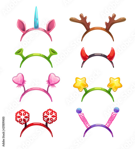 Funny cartoon headbands with horns and ears. Wallpaper Mural