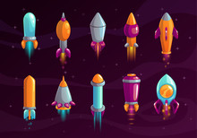 Cartoon Colorful Space Missile Set.