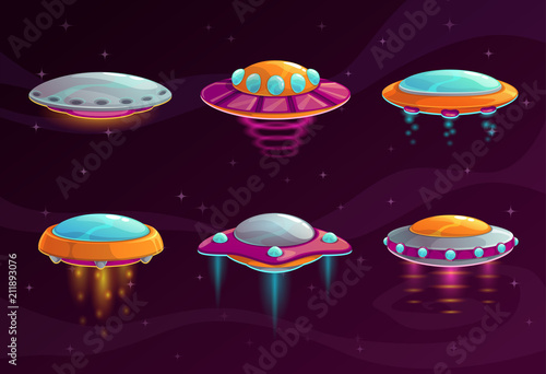 Cartoon colorful ufo assets set. Wallpaper Mural