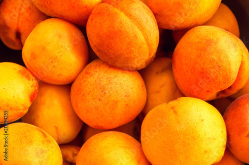 ripe fruit, a lot of ripe apricots