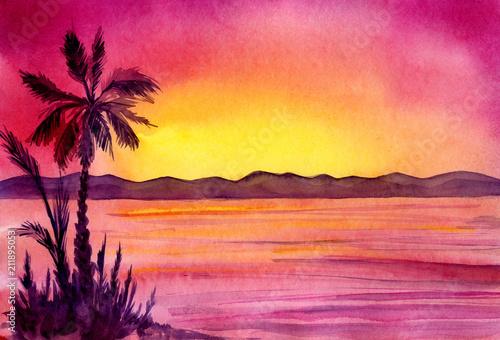 akwarela-panorama-gor-morza-i-palmy-o-zachodzie-slonca