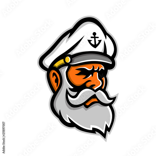 Cuadros en Lienzo Mascot icon illustration of head of a seadog or sea dog, an old or experienced sea captain, sailor or fisherman viewed from side on isolated background in retro style