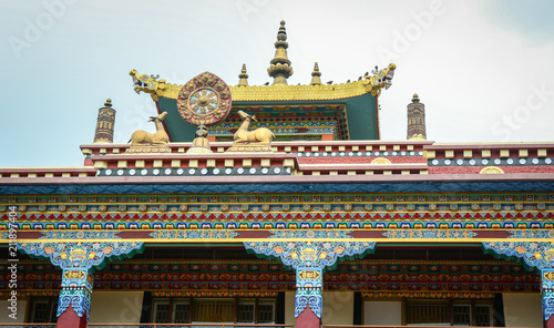 Spoed Foto op Canvas Bedehuis Bhutanese temple in Gaya, India