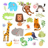 Fototapeta Fototapety na ścianę do pokoju dziecięcego - Cute set of safari animals and flowers. Savanna and safari funny cartoon animals. Jungle animals vector set. Crocodile, giraffe, lion and monkey, and other jungles and savannah animals in one cute