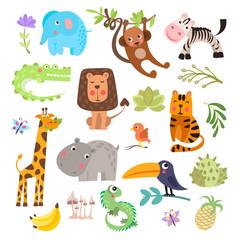 Cute set of safari animals and flowers. Savanna and safari funny cartoon animals. Jungle animals vector set. Crocodile, giraffe, lion and monkey, and other jungles and savannah animals in one cute