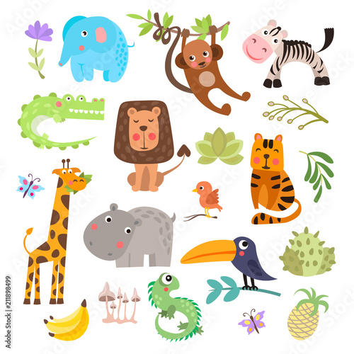 Photo  Cute set of safari animals and flowers