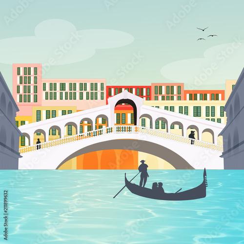 Fotografie, Obraz illustration of the Rialto bridge in Venice
