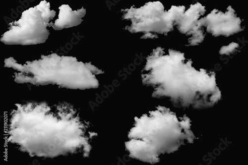 Aluminium Prints Heaven Set of clouds white on isolated elements black background.
