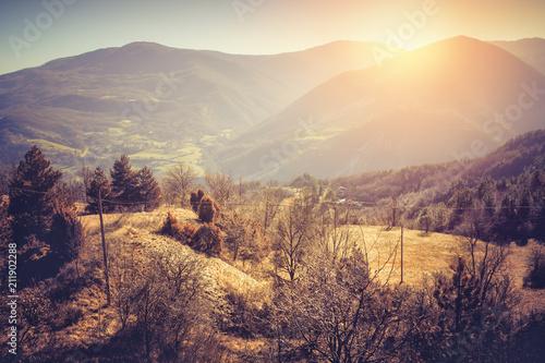 Autumn landscape of Apennine mountains, Italy Canvas Print