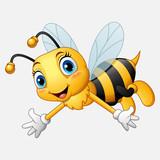 Cartoon happy bee waving hand