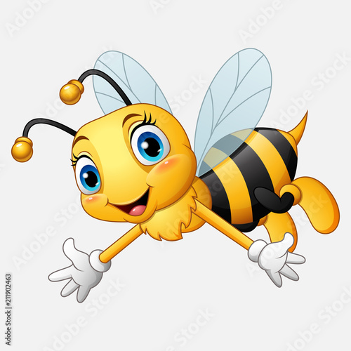 Cartoon happy bee waving hand Fototapet