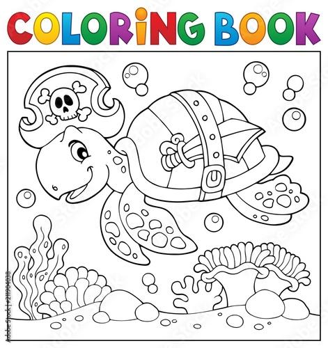 In de dag Voor kinderen Coloring book pirate turtle theme 2