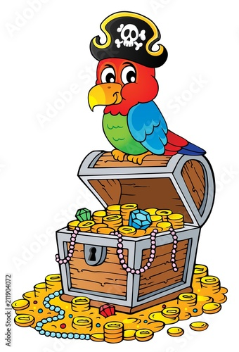 In de dag Voor kinderen Pirate parrot on treasure chest topic 2