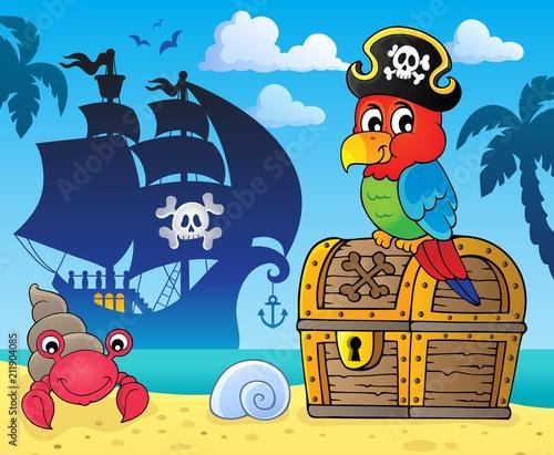 In de dag Voor kinderen Pirate parrot on treasure chest topic 3