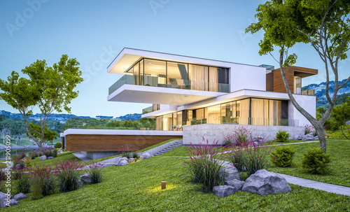 Fotomural  3d rendering of modern house by the river at evening