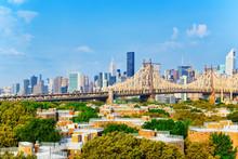 Queensboro Bridge Across The East River Between The Upper East Side Manhattan And Queens District In  New York.