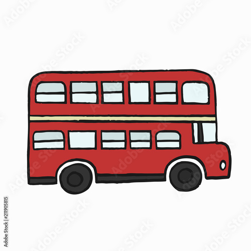 Photo  Red double-decker London bus illustration
