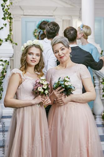 Lesbian Wedding Happy Newlyweds In Bridal Pale Pink Dresses Posing