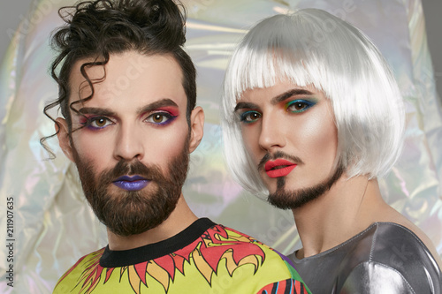 Closeup Portrait Of A Transgender Couple 2 Male Persons With Make