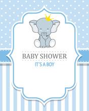 Baby Shower Boy. Cute Elephant...