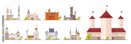 Stampa su Tela Collection of ancient castles, fortresses, citadels and strongholds isolated on white background