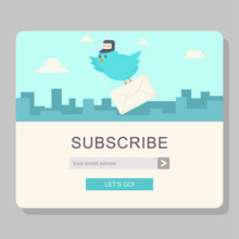 Email Subscription With Blue Bird Postman And Paper Letter. Vector Cartoon Web Concept Template For Newsletter On A Cityscape With Clouds Background.