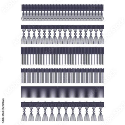 Fotografie, Obraz  Fringe edge with brush and tassel trim vector flat set of seamless borders isolated on a white background