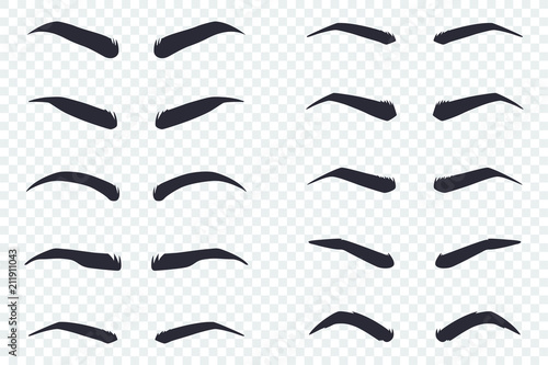 Valokuva Male and female eyebrows of different shapes