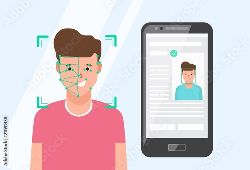 Smartphone with portrait of smiling man sitting beside on screen Wallpaper Mural