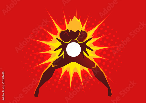 Photo Superhero creating an energy blast through his hands