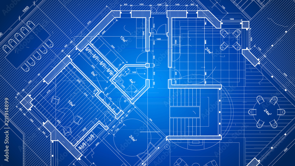 Fototapeta Architecture design: blueprint plan - vector illustration of a plan modern residential building / technology, industry, business concept illustration: real estate, building, construction, architecture