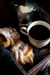 Fototapeta Do kawiarni Italian coffee set for breakfast