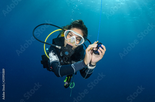 happy diver Canvas Print