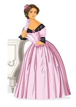 Vector Retro Woman From Nineteenth Century. Vector Illustration On White Background.