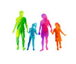 A happy family enjoying walking together and holding hands in colourful textures. Vector illustration