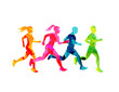 A group of running men and women staying fit. Colourful texture people silhouettes. Vector illustration.