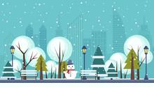 Winter Public City Park Vector Illustration.