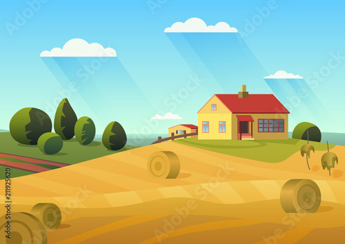 Photo Colorful vector illustration of farmhouse in countryside with golden haystacks and blue sky