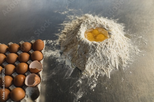 Flour with egg yolks in bakery shop
