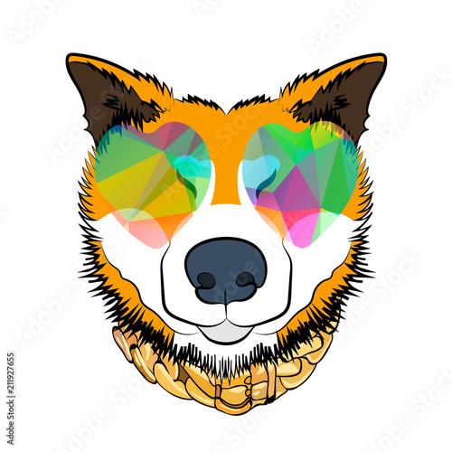 Fotobehang Indiërs Color dog print. Rogue dog. Cartoon vector illustration.
