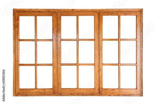 Threefold wooden window isolated on white background