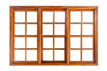 Big Wooden Window Isolated On White Background