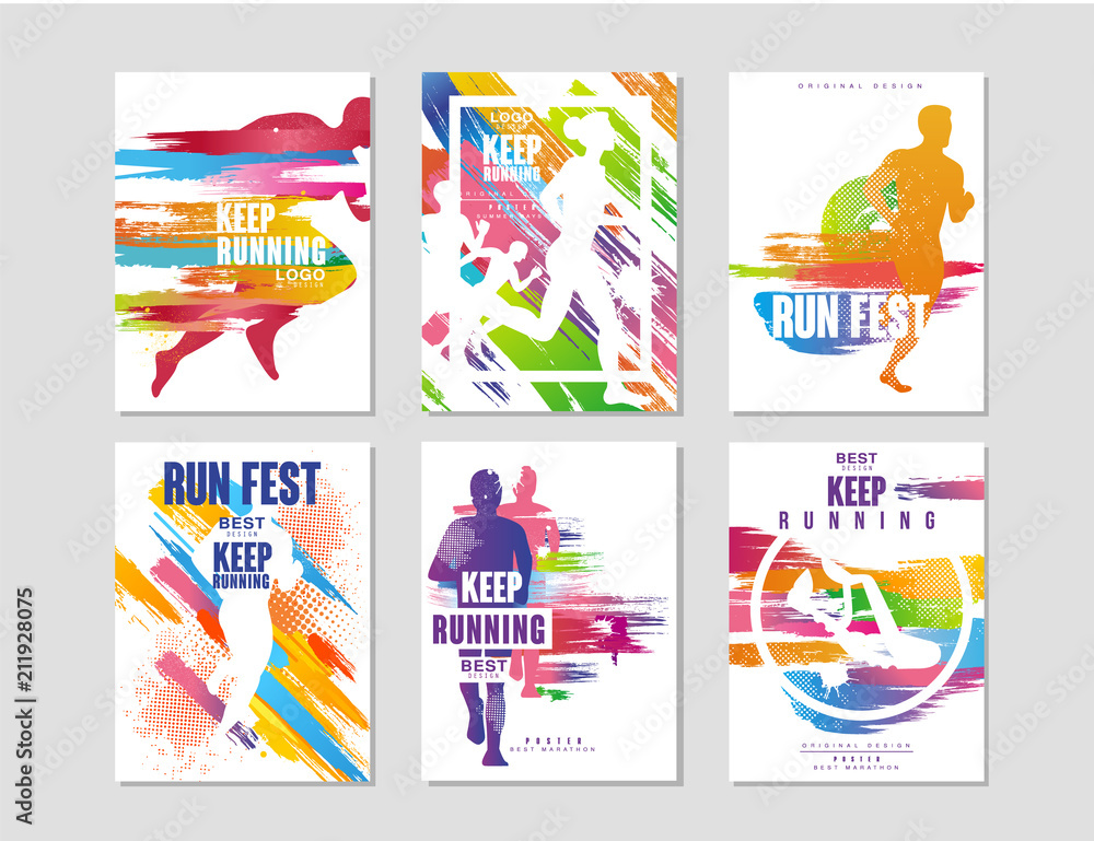 Fototapety, obrazy: Run fest posters set, sport and competition concept, running marathon, colorful design element for card, banner, print, badge vector Illustrations