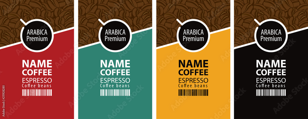 Fototapeta Vector set of four coffee bean labels. Coffee labels with coffee Cup and bar code on different color background