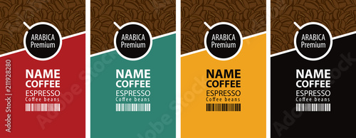 Vector set of four coffee bean labels. Coffee labels with coffee Cup and bar code on different color background
