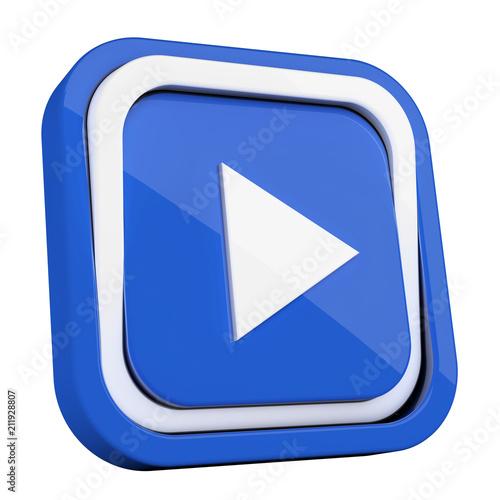 Fototapeta ikona plastikowa 3D niebieski kwadrat pierścień  obraz