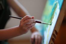 Preschool Girl Painting In Art...