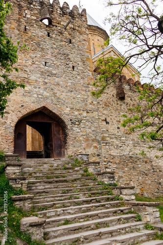 Foto op Aluminium Oude gebouw Ananuri castle complex on the Aragvi River in Caucasus mountains, Georgia