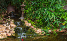 Artificial Waterfall With Decorative Pond